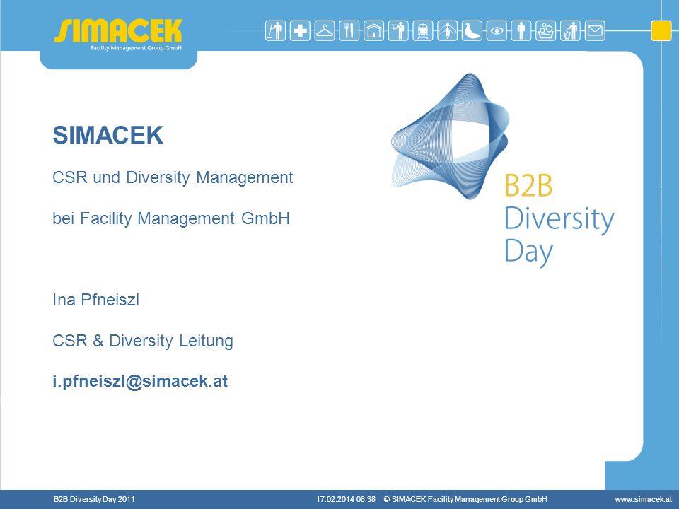 © SIMACEK Facility Management Group GmbHwww.simacek.atB2B Diversity Day 201117.02.2014 08:39 SIMACEK CSR und Diversity Management bei Facility Managem