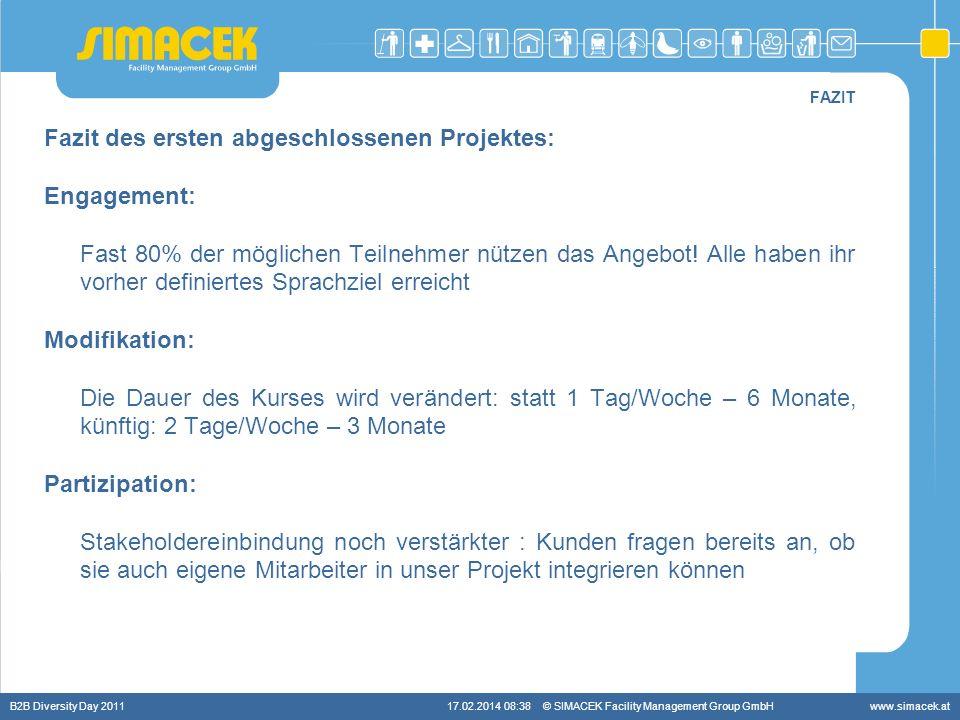 © SIMACEK Facility Management Group GmbHwww.simacek.at FAZIT Fazit des ersten abgeschlossenen Projektes: Engagement: Fast 80% der möglichen Teilnehmer