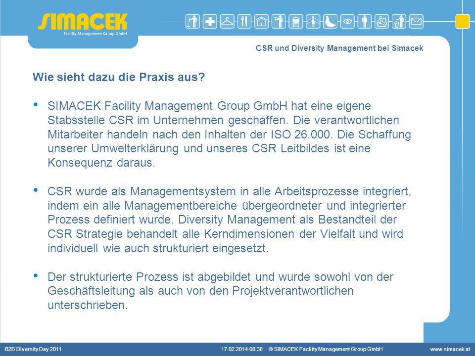 © SIMACEK Facility Management Group GmbHwww.simacek.at CSR und Diversity Management bei Simacek Wie sieht dazu die Praxis aus? SIMACEK Facility Manage