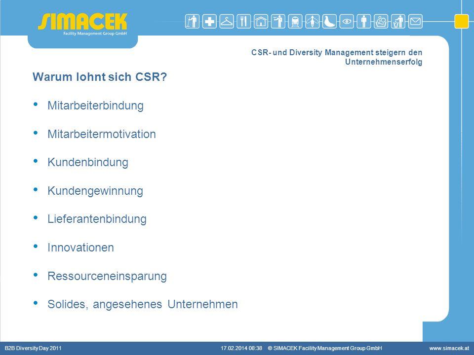 © SIMACEK Facility Management Group GmbHwww.simacek.at CSR- und Diversity Management steigern den Unternehmenserfolg Warum lohnt sich CSR? Mitarbeiter