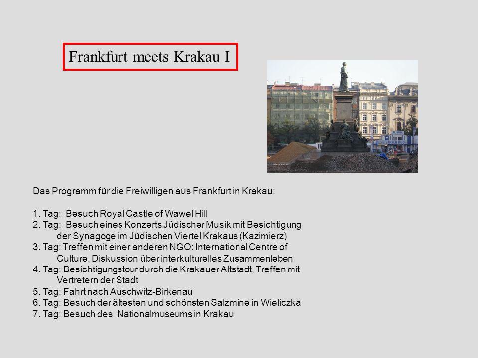 Frankfurt meets Krakau I Das Programm für die Freiwilligen aus Frankfurt in Krakau: 1. Tag: Besuch Royal Castle of Wawel Hill 2. Tag: Besuch eines Kon