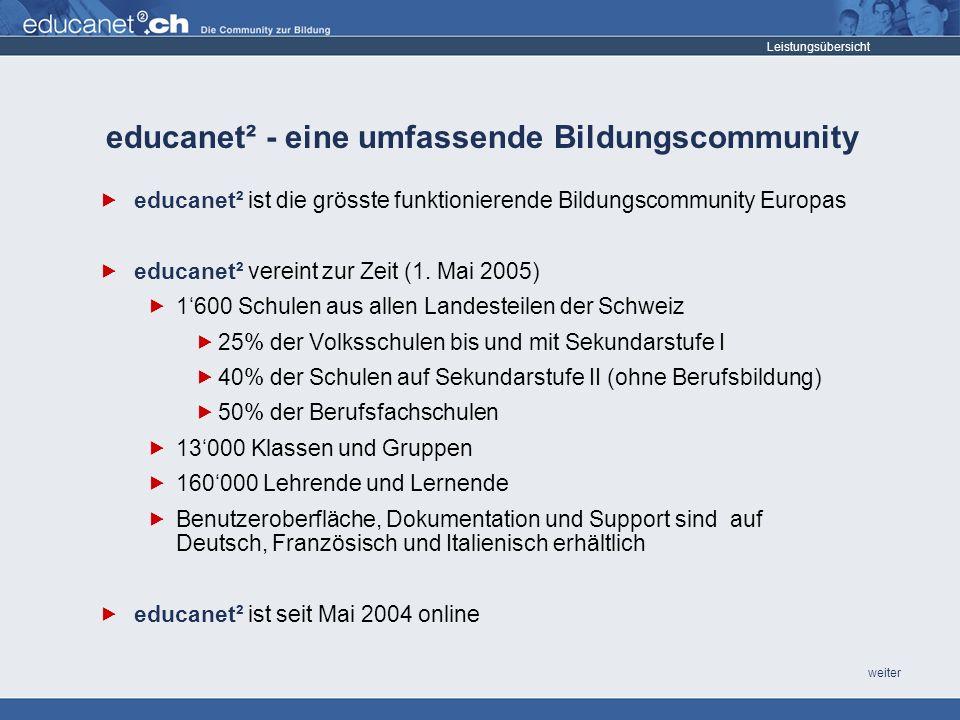 weiter Leistungsübersicht educanet² ist die grösste funktionierende Bildungscommunity Europas educanet² vereint zur Zeit (1.