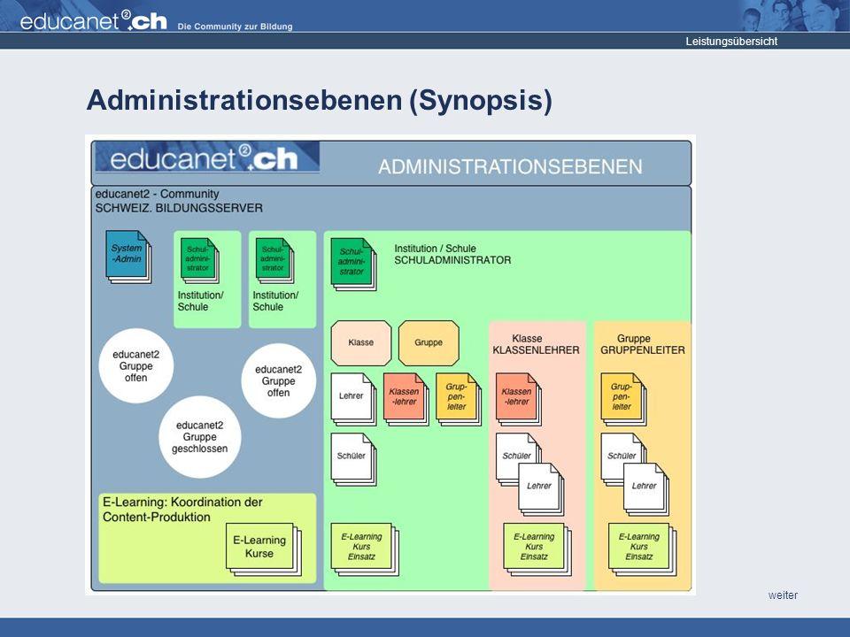weiter Administrationsebenen (Synopsis) Leistungsübersicht