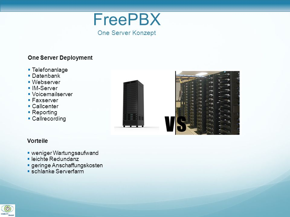 FreePBX One Server Konzept One Server Deployment Telefonanlage Datenbank Webserver IM-Server Voicemailserver Faxserver Callcenter Reporting Callrecord