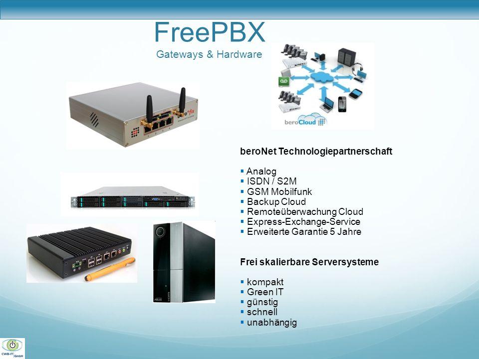 FreePBX Gateways & Hardware beroNet Technologiepartnerschaft Analog ISDN / S2M GSM Mobilfunk Backup Cloud Remoteüberwachung Cloud Express-Exchange-Ser