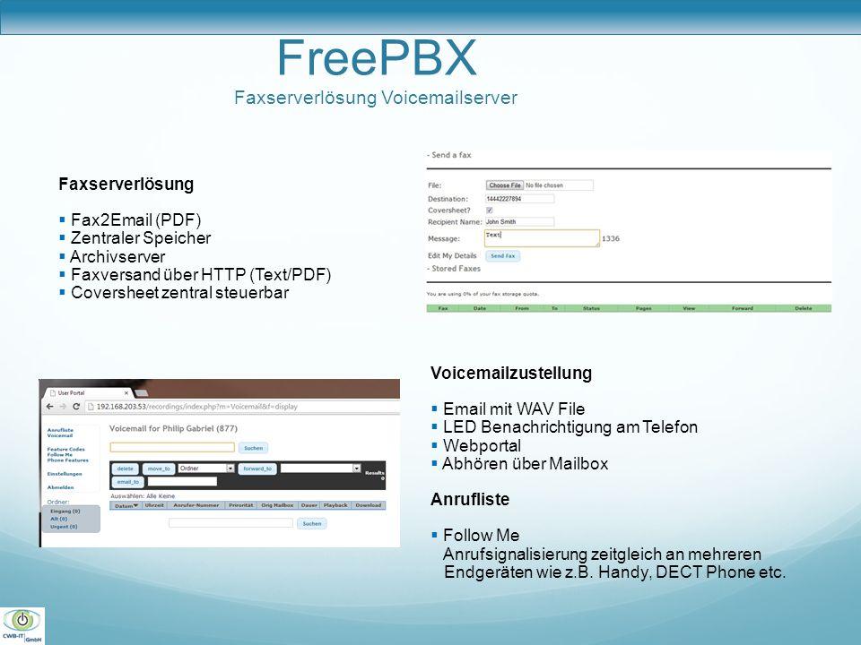 FreePBX Faxserverlösung Voicemailserver Faxserverlösung Fax2Email (PDF) Zentraler Speicher Archivserver Faxversand über HTTP (Text/PDF) Coversheet zen
