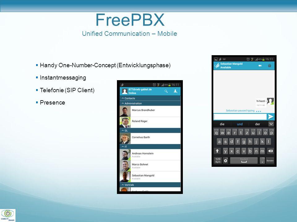 FreePBX One Server Konzept One Server Deployment Telefonanlage Datenbank Webserver IM-Server Voicemailserver Faxserver Callcenter Reporting Callrecording Vorteile weniger Wartungsaufwand leichte Redundanz geringe Anschaffungskosten schlanke Serverfarm