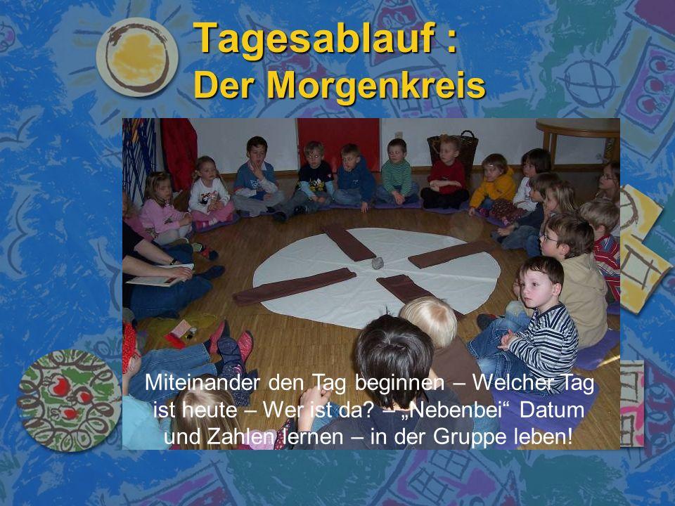 Tagesablauf : Der Morgenkreis Miteinander den Tag beginnen – Welcher Tag ist heute – Wer ist da? – Nebenbei Datum und Zahlen lernen – in der Gruppe le