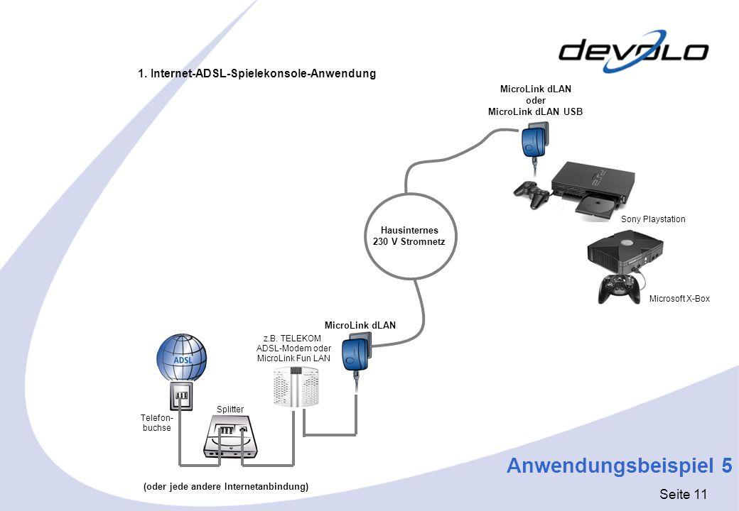 Seite 11 Anwendungsbeispiel 5 Telefon- buchse Splitter MicroLink dLAN oder MicroLink dLAN USB MicroLink dLAN Hausinternes 230 V Stromnetz 1. Internet-