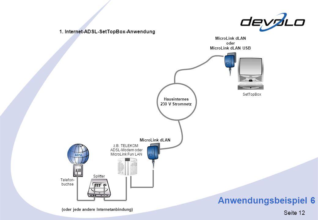 Seite 12 Telefon- buchse Splitter MicroLink dLAN oder MicroLink dLAN USB MicroLink dLAN Hausinternes 230 V Stromnetz 1. Internet-ADSL-SetTopBox-Anwend