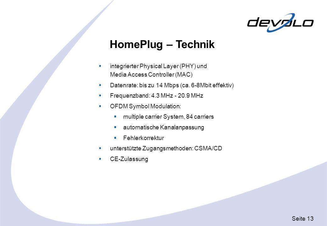 Seite 13 HomePlug – Technik integrierter Physical Layer (PHY) und Media Access Controller (MAC) Datenrate: bis zu 14 Mbps (ca. 6-8Mbit effektiv) Frequ