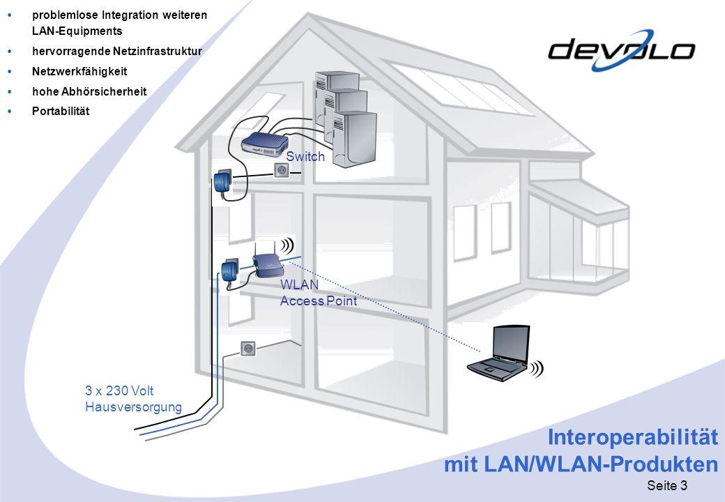 Seite 4 devolo MicroLink dLAN HomePlug Adapter mit Ethernet-Schnittstelle Datenübertragung über das bestehende Stromnetz im In-House-Bereich extrem kleine Bauform: 93 x 66 x 42 (H x B x T) maximale Übertragungsraten: 14 Mbit/s Reichweite bis zu 200 Metern höchste Abhörsicherheit durch 56 Bit DES-Verschlüsselung LAN-Standards: IEEE 802.3 Konfigurationssoftware für Windows 98SE, Windows 2000, Windows Me und Windows XP keine Treiber notwendig easy Plug&Play-Installation