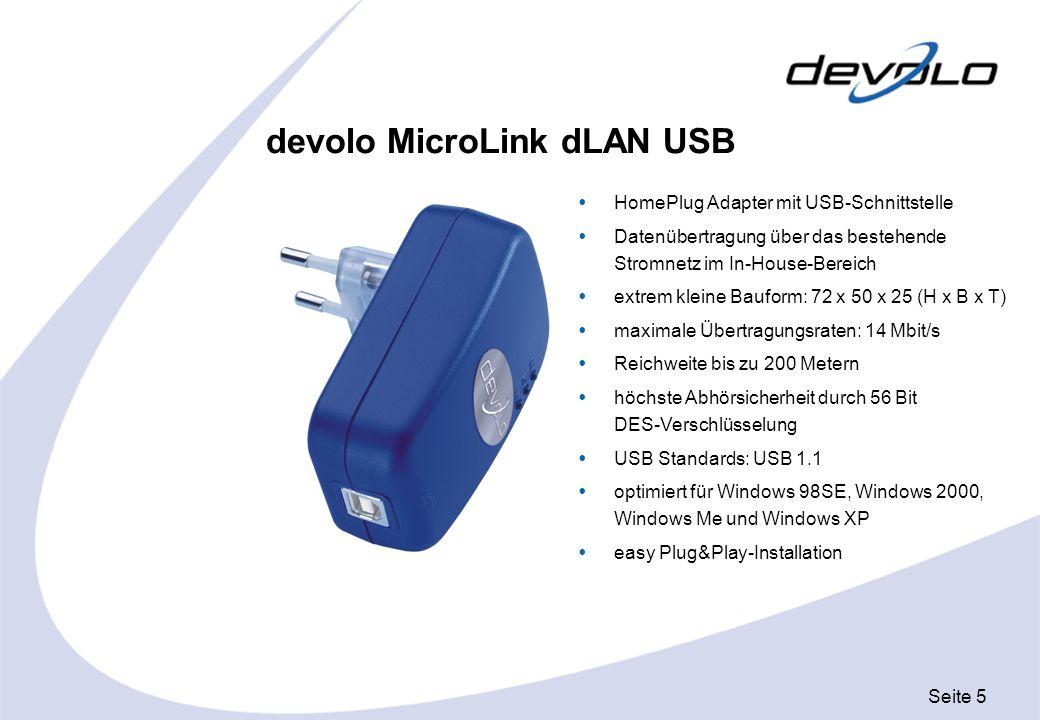 Seite 5 devolo MicroLink dLAN USB HomePlug Adapter mit USB-Schnittstelle Datenübertragung über das bestehende Stromnetz im In-House-Bereich extrem kle