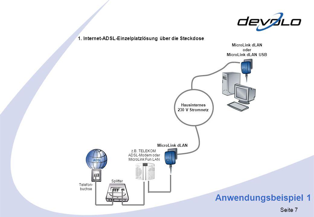 Seite 7 Anwendungsbeispiel 1 Telefon- buchse Splitter MicroLink dLAN oder MicroLink dLAN USB MicroLink dLAN Hausinternes 230 V Stromnetz 1. Internet-A