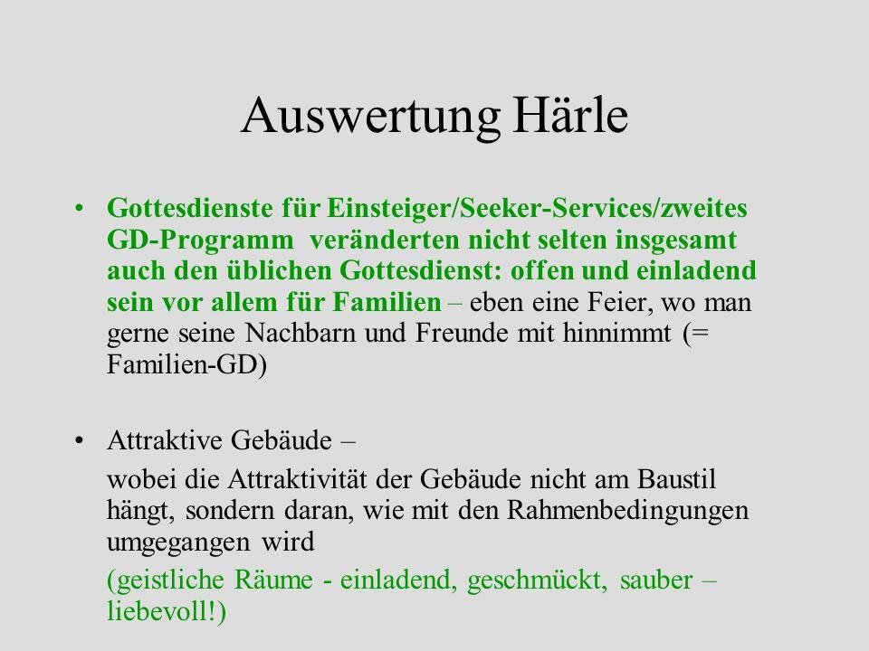 Gottesdienste für Einsteiger/Seeker-Services/zweites GD-Programm veränderten nicht selten insgesamt auch den üblichen Gottesdienst: offen und einladen