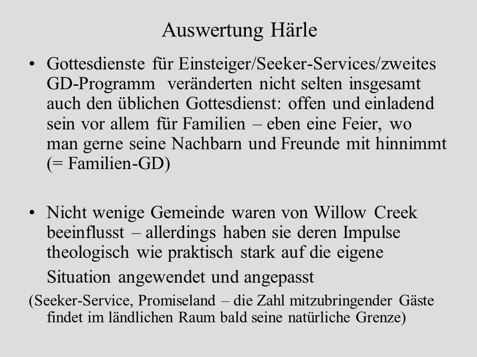 Auswertung Härle Gottesdienste für Einsteiger/Seeker-Services/zweites GD-Programm veränderten nicht selten insgesamt auch den üblichen Gottesdienst: o