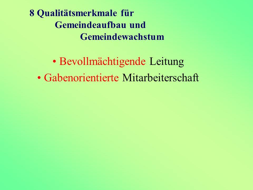 8 Qualitätsmerkmale für Gemeindeaufbau und Gemeindewachstum Bevollmächtigende Leitung Gabenorientierte Mitarbeiterschaft