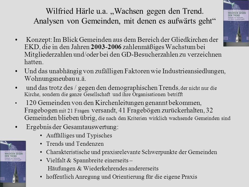 Wilfried Härle u.a. Wachsen gegen den Trend. Analysen von Gemeinden, mit denen es aufwärts geht Konzept: Im Blick Gemeinden aus dem Bereich der Gliedk