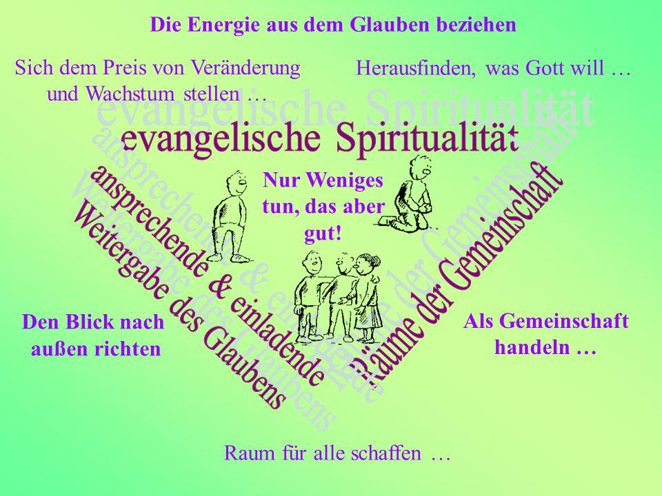 Die Energie aus dem Glauben beziehen Herausfinden, was Gott will … Sich dem Preis von Veränderung und Wachstum stellen … Als Gemeinschaft handeln … Raum für alle schaffen … Den Blick nach außen richten Nur Weniges tun, das aber gut!