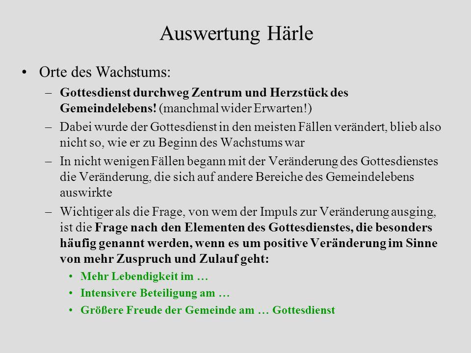 Auswertung Härle Orte des Wachstums: –Gottesdienst durchweg Zentrum und Herzstück des Gemeindelebens.