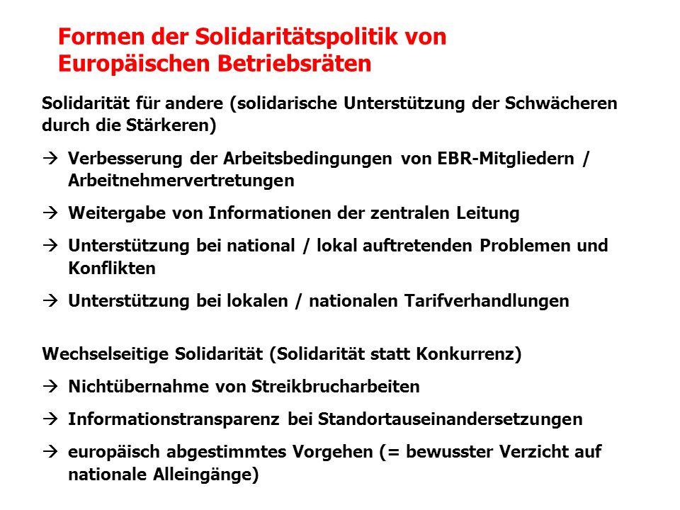 Solidarität für andere (solidarische Unterstützung der Schwächeren durch die Stärkeren) Verbesserung der Arbeitsbedingungen von EBR-Mitgliedern / Arbe