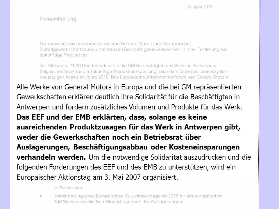 Alle Werke von General Motors in Europa und die bei GM repräsentierten Gewerkschaften erklären deutlich ihre Solidarität für die Beschäftigten in Antw