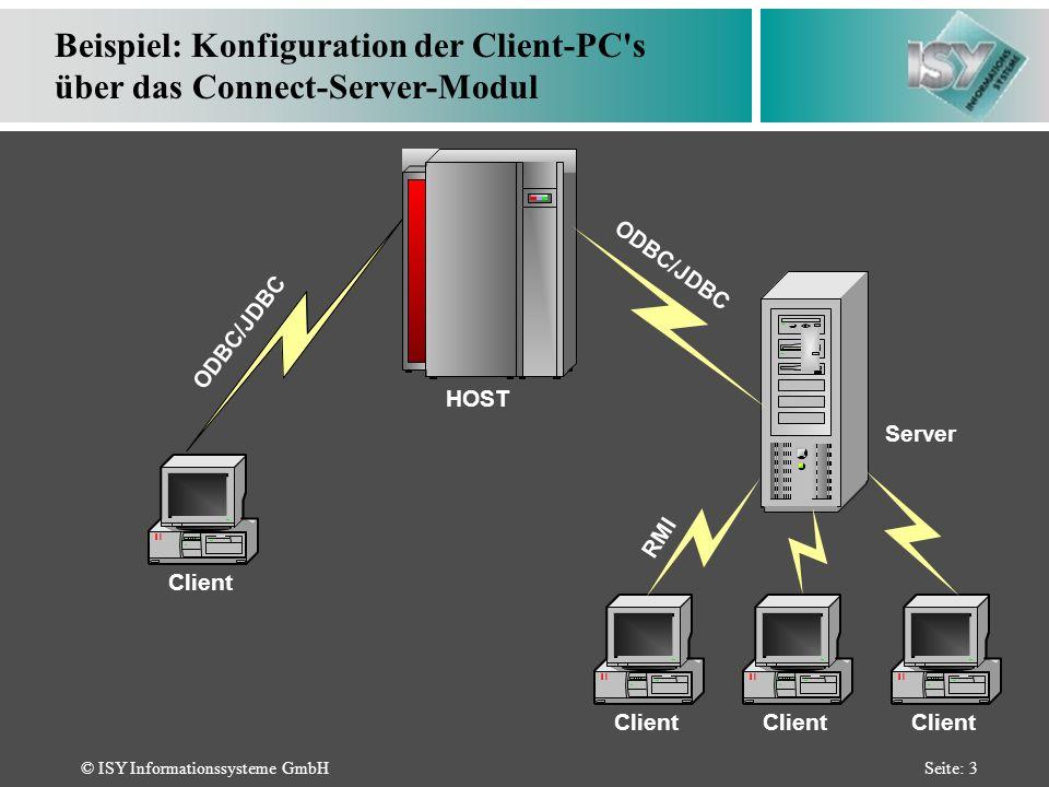 © ISY Informationssysteme GmbHSeite: 3 Beispiel: Konfiguration der Client-PC s über das Connect-Server-Modul ODBC/JDBC HOST Server Client ODBC/JDBC RMI