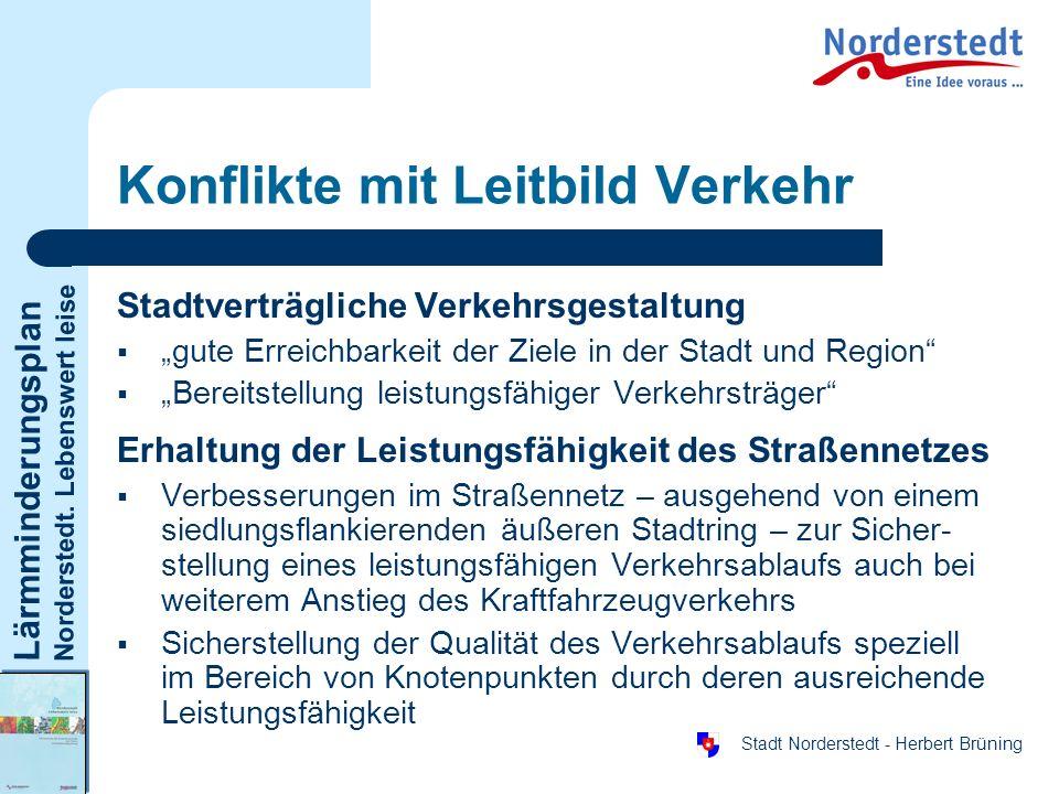 Lärmminderungsplan Norderstedt. Lebenswert leise Stadt Norderstedt - Herbert Brüning Konflikte mit Leitbild Verkehr Stadtverträgliche Verkehrsgestaltu