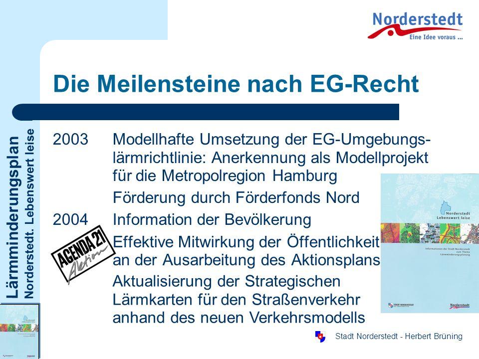 Lärmminderungsplan Norderstedt. Lebenswert leise Stadt Norderstedt - Herbert Brüning Die Meilensteine nach EG-Recht 2003Modellhafte Umsetzung der EG-U