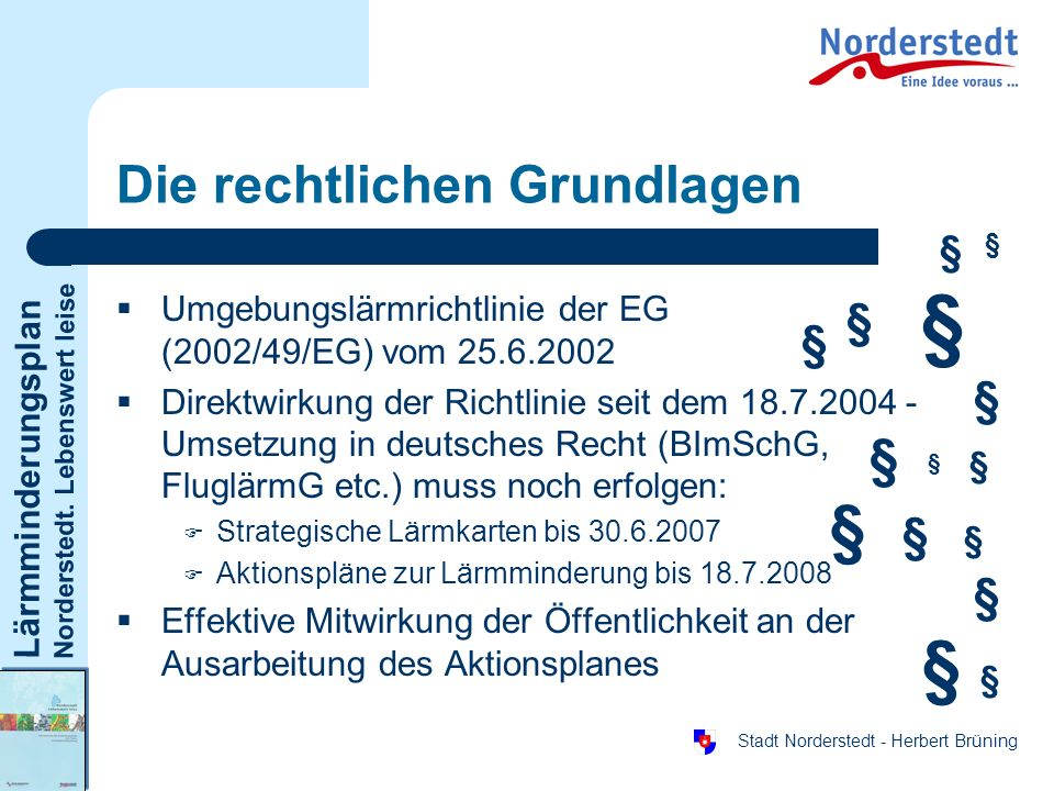 Lärmminderungsplan Norderstedt. Lebenswert leise Stadt Norderstedt - Herbert Brüning Die rechtlichen Grundlagen Umgebungslärmrichtlinie der EG (2002/4