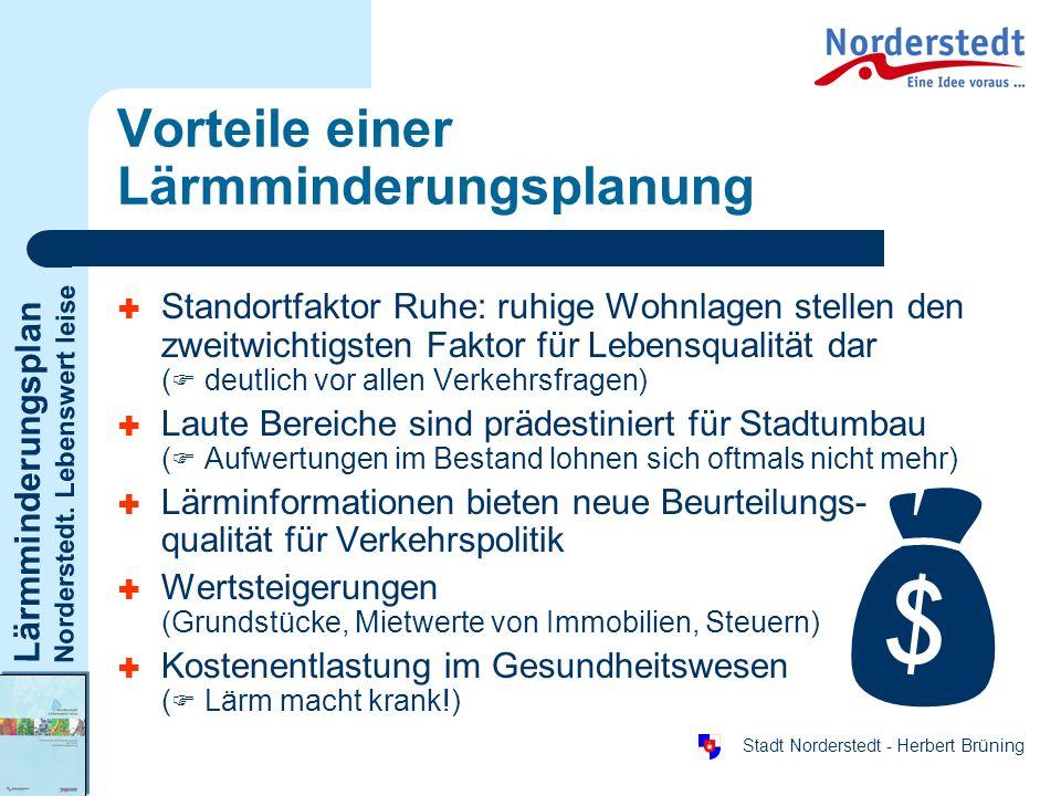 Lärmminderungsplan Norderstedt. Lebenswert leise Stadt Norderstedt - Herbert Brüning Vorteile einer Lärmminderungsplanung Standortfaktor Ruhe: ruhige