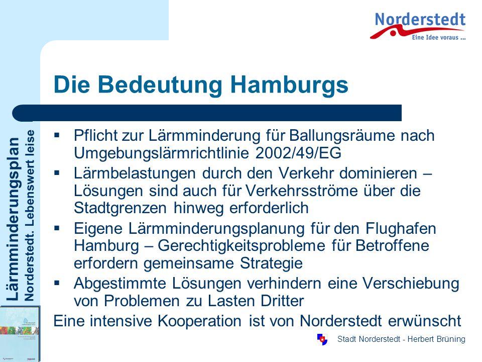 Lärmminderungsplan Norderstedt. Lebenswert leise Stadt Norderstedt - Herbert Brüning Die Bedeutung Hamburgs Pflicht zur Lärmminderung für Ballungsräum