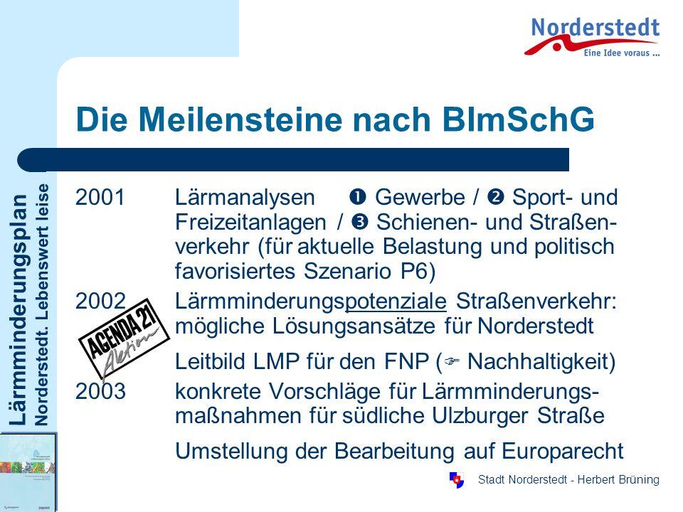 Lärmminderungsplan Norderstedt. Lebenswert leise Stadt Norderstedt - Herbert Brüning Die Meilensteine nach BImSchG 2001Lärmanalysen Gewerbe / Sport- u