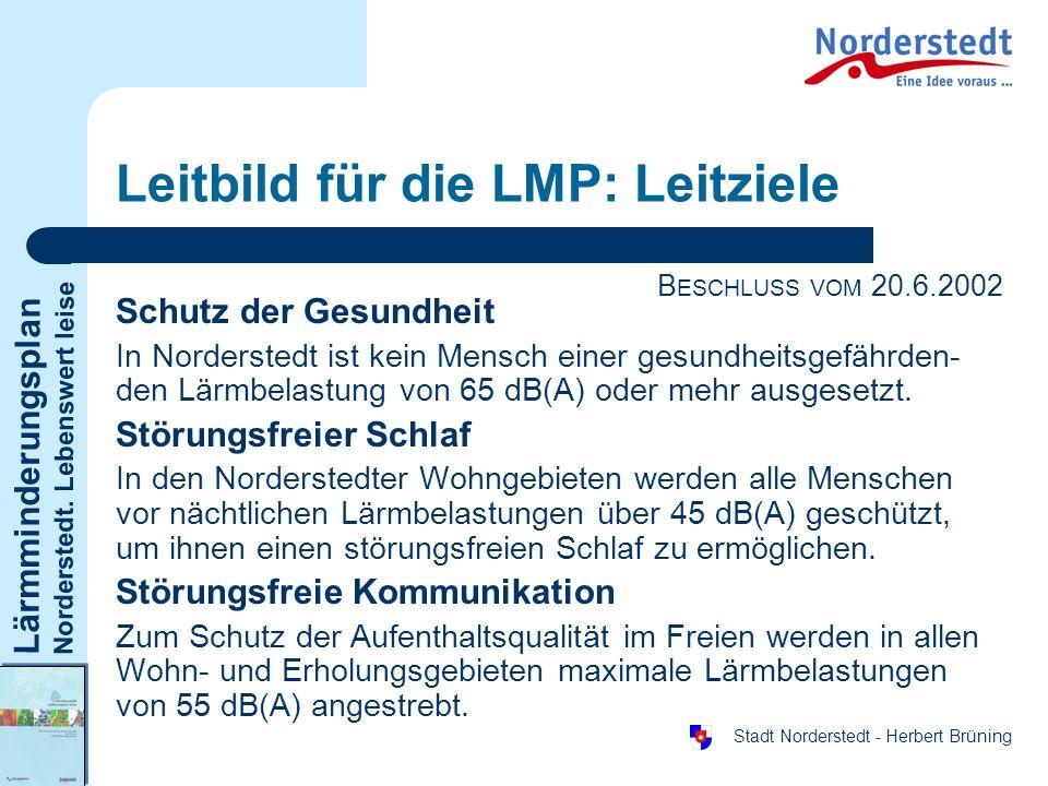 Lärmminderungsplan Norderstedt. Lebenswert leise Stadt Norderstedt - Herbert Brüning Leitbild für die LMP: Leitziele Schutz der Gesundheit In Norderst