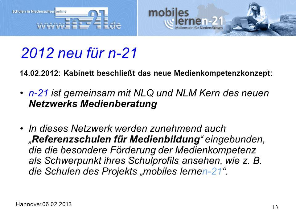 Hannover 06.02.2013 13 2012 neu für n-21 14.02.2012: Kabinett beschließt das neue Medienkompetenzkonzept: n-21 ist gemeinsam mit NLQ und NLM Kern des