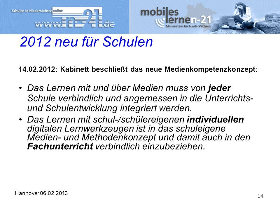 Hannover 06.02.2013 14 2012 neu für Schulen 14.02.2012: Kabinett beschließt das neue Medienkompetenzkonzept: Das Lernen mit und über Medien muss von j