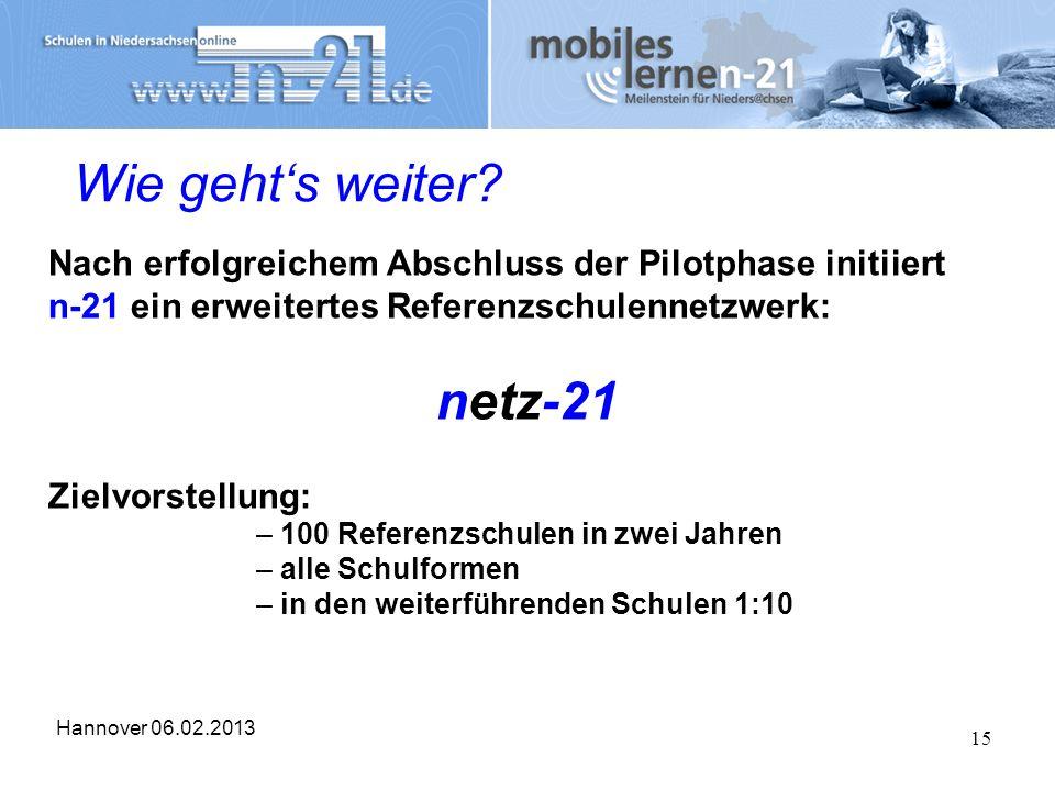 Hannover 06.02.2013 15 Wie gehts weiter? Nach erfolgreichem Abschluss der Pilotphase initiiert n-21 ein erweitertes Referenzschulennetzwerk: netz-21 Z