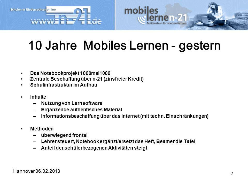2 10 Jahre Mobiles Lernen - gestern Das Notebookprojekt 1000mal1000 Zentrale Beschaffung über n-21 (zinsfreier Kredit) Schulinfrastruktur im Aufbau In