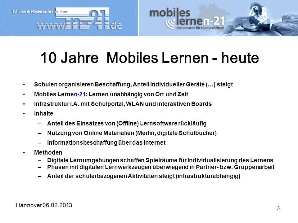 Hannover 06.02.2013 3 10 Jahre Mobiles Lernen - heute Schulen organisieren Beschaffung, Anteil individueller Geräte (…) steigt Mobiles Lernen-21: Lern