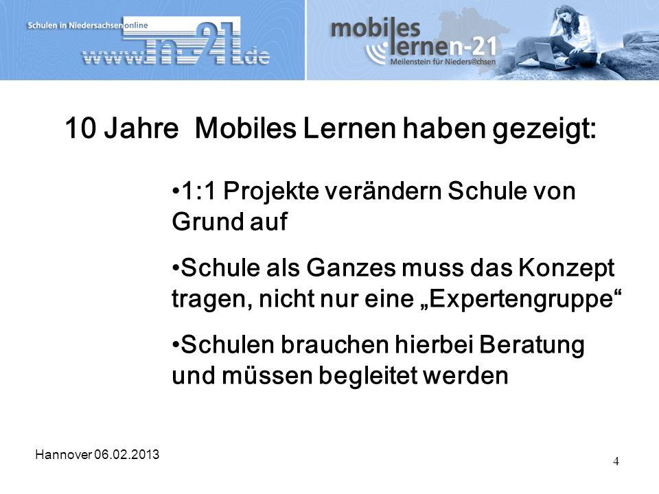 Hannover 06.02.2013 4 10 Jahre Mobiles Lernen haben gezeigt: 1:1 Projekte verändern Schule von Grund auf Schule als Ganzes muss das Konzept tragen, ni
