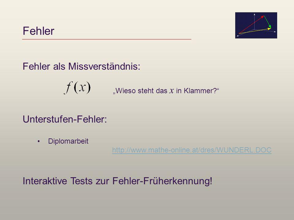 Fehler Fehler als Missverständnis: Wieso steht das x in Klammer? Unterstufen-Fehler: Diplomarbeit http://www.mathe-online.at/dres/WUNDERL.DOC Interakt