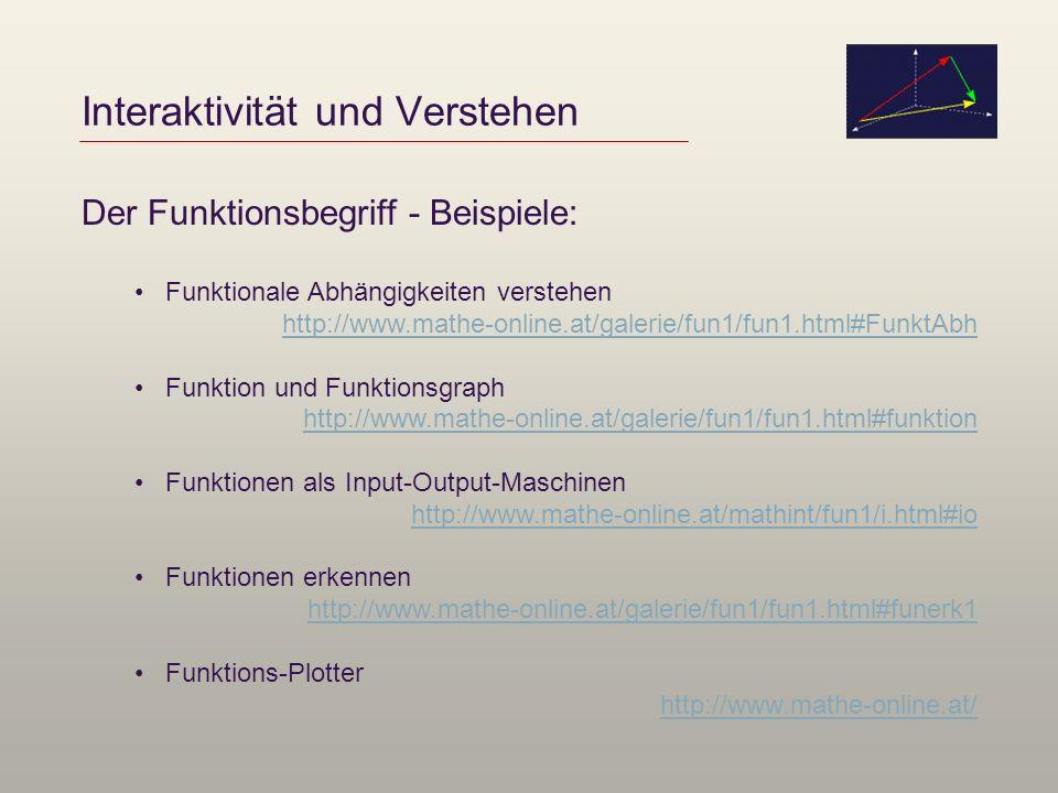 Interaktivität und Verstehen Der Funktionsbegriff - Beispiele: Funktionale Abhängigkeiten verstehen http://www.mathe-online.at/galerie/fun1/fun1.html#