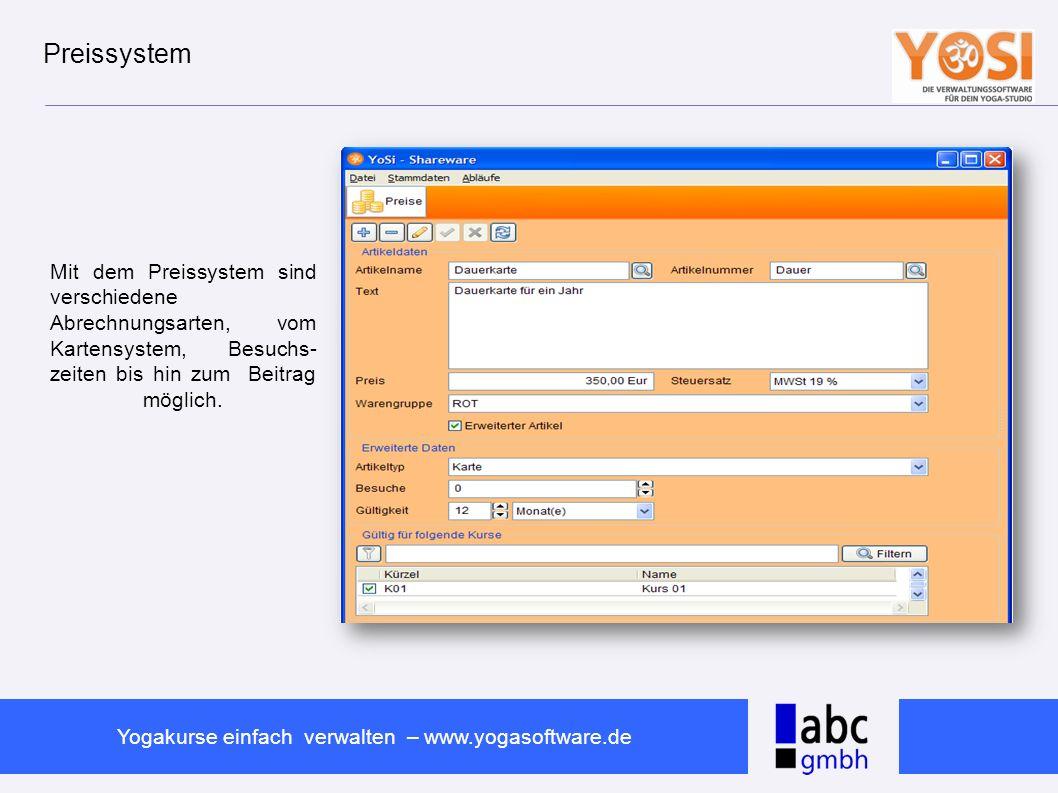 www.abc-software.biz Yogakurse einfach verwalten – www.yogasoftware.de Kurs-Assistent Mit dem Kurs-Assistent kannst Du für den jeweiligen Kurs eine Anwesenheitsliste aus- drucken und die Teil- nehmer eintragen.