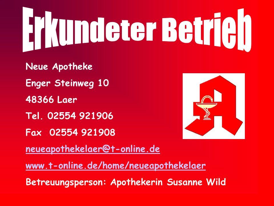 Neue Apotheke Enger Steinweg 10 48366 Laer Tel. 02554 921906 Fax 02554 921908 neueapothekelaer@t-online.de www.t-online.de/home/neueapothekelaer Betre