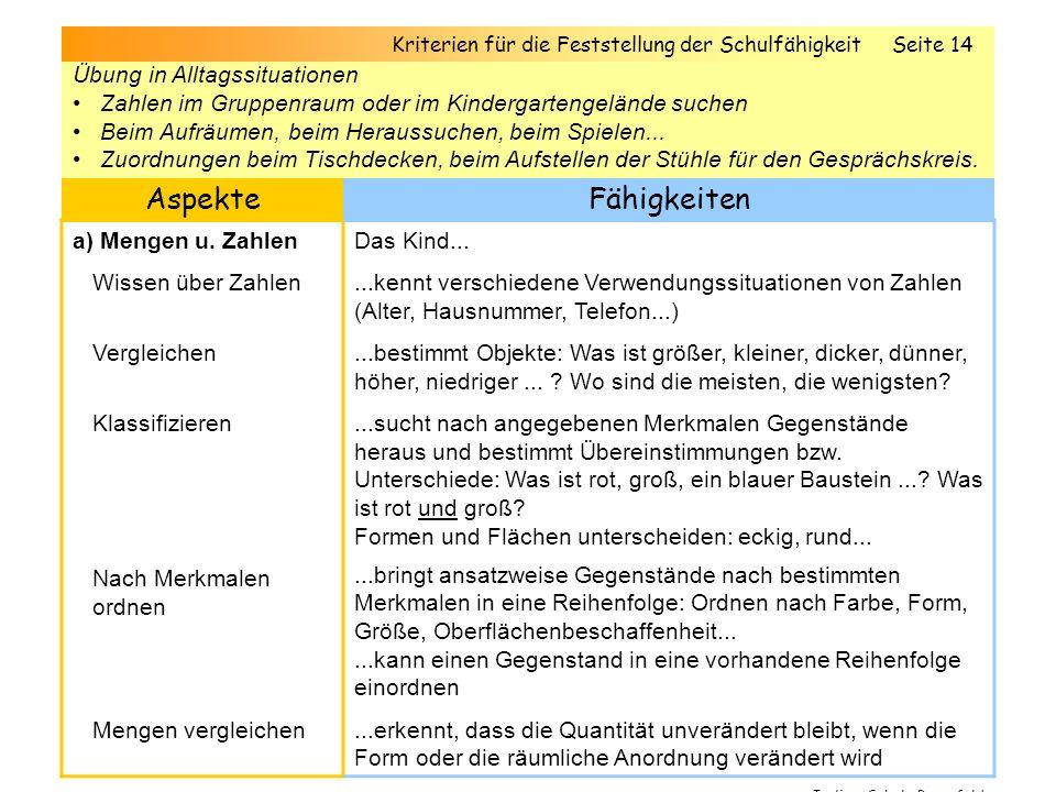 5.Elementares Wissen / fachliche Kompetenzen Bereich: Mathematik AspekteFähigkeiten a) Mengen u.