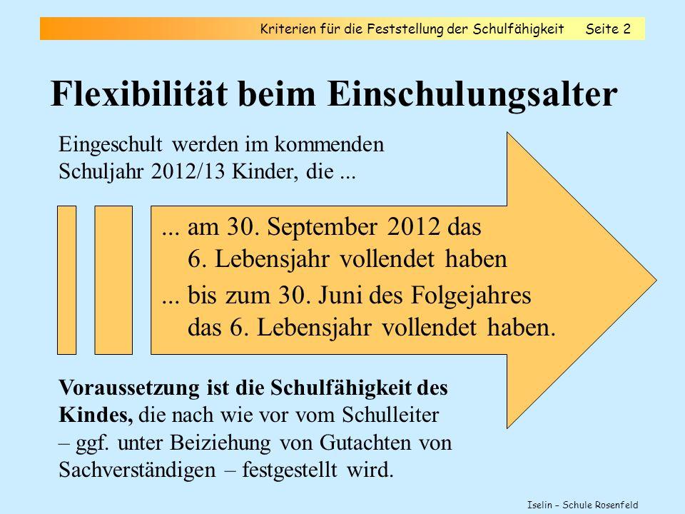 Flexibilität beim Einschulungsalter Kriterien für die Feststellung der SchulfähigkeitSeite 2 Iselin – Schule Rosenfeld Eingeschult werden im kommenden Schuljahr 2012/13 Kinder, die......