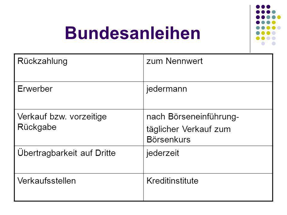 Bundesanleihen Rückzahlungzum Nennwert Erwerberjedermann Verkauf bzw.