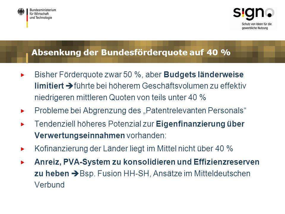 Absenkung der Bundesförderquote auf 40 % Bisher Förderquote zwar 50 %, aber Budgets länderweise limitiert führte bei höherem Geschäftsvolumen zu effek