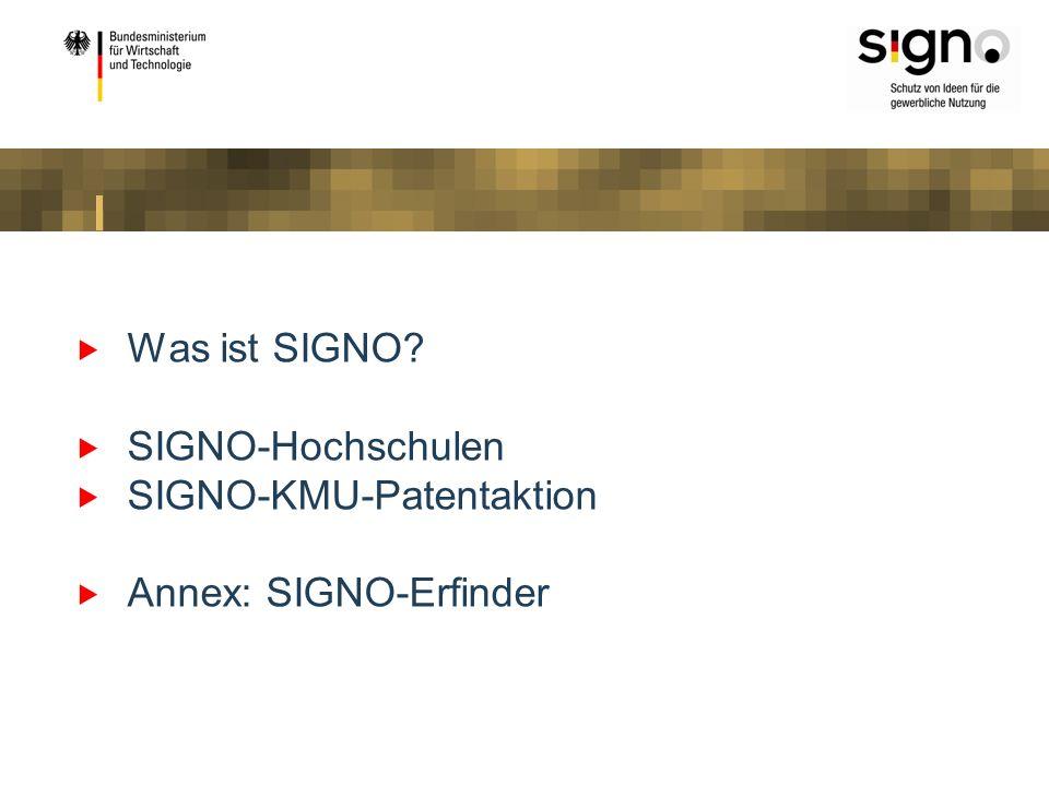SIGNO als neue Dachmarke SIGNO als gemeinsames Dach über der ehemaligen Verwertungsoffensive (jetzt: SIGNO- Hochschulen) und das ehemalige INSTI-Programm zuammengeführt (jetzt: SIGNO-Unternehmen und SIGNO-Erfinder) Startschuss SIGNO-Stand auf der Hannovermesse 2008