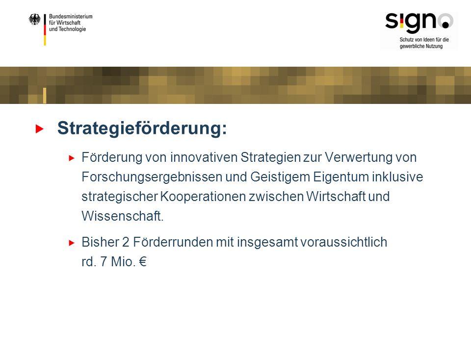 Strategieförderung: Förderung von innovativen Strategien zur Verwertung von Forschungsergebnissen und Geistigem Eigentum inklusive strategischer Koope